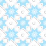 白色雪花和小点与蓝色顶面无缝 皇族释放例证