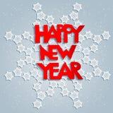 白色雪花和新年好 免版税库存照片