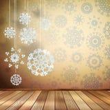 白色雪花在米黄屋子里。EPS 10 库存照片