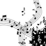 白色音乐背景显示古典爵士乐和声调 免版税库存照片