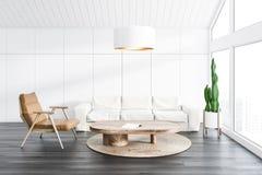 白色顶楼客厅、沙发和扶手椅子 库存例证