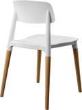 白色颜色塑料椅子,现代设计师 在白色背景隔绝的木腿的椅子 家具例证内部向量 免版税库存照片