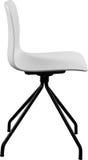白色颜色塑料椅子,现代设计师 在白色背景隔绝的转椅 家具例证内部向量 免版税库存照片