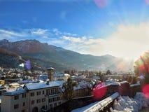 白色风景在贝林佐纳,瑞士 免版税库存图片