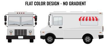 白色食物卡车喂详细与嘲笑的坚实和平的颜色设计模板品牌身份 前和侧视图 库存例证