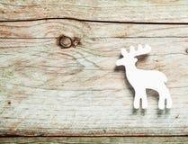 白色驯鹿圣诞节装饰 库存照片