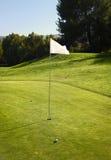 白色高尔夫球场旗子 免版税图库摄影