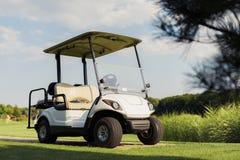 白色高尔夫车在绿色背景站立 库存图片