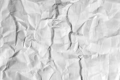 白色高度详述的被弄皱的纸背景纹理 库存图片