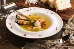 白色鱼、虾和淡菜开胃自创海鲜汤  库存图片