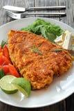 白色鱼牛排用沙拉和乳酪 图库摄影