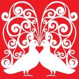白色鸠与心脏symb配对亲吻样式 免版税库存照片