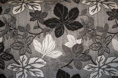 白色黑灰色叶子织品背景 免版税图库摄影
