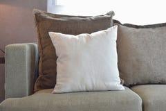 白色,棕色和灰色天鹅绒把在沙发的安装枕在 库存图片