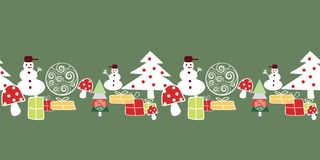 白色,红色和黄色圣诞树、雪人、礼物和装饰在绿色backgound边界无缝的样式 皇族释放例证
