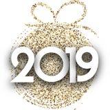 白色2019与金子圣诞节球的新年卡片 皇族释放例证