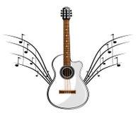 白色经典吉他 免版税库存图片