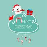 白色婴孩熊, giftbox,雪花,球 圣诞快乐看板卡 棒棒糖停止 与弓的破折号线 平的设计 蓝色backgro 库存照片