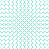 白色&水色quatrefoil样式,无缝的纹理背景 免版税库存照片