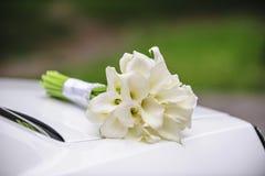 白色水芋属美丽的婚礼花束  库存照片