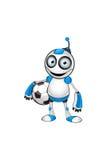 白色&蓝色机器人字符 免版税库存图片