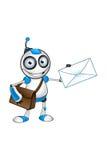 白色&蓝色机器人字符 免版税图库摄影