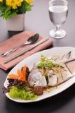 白色仓鱼蒸汽鱼,中国食物 免版税库存图片