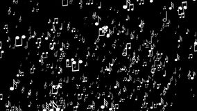 白色3d音乐笔记 黑色背景 皇族释放例证