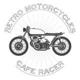 白色caferacer,葡萄酒摩托车 免版税图库摄影