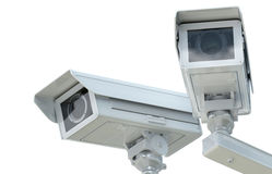 白色cctv照相机或安全监控相机 库存图片