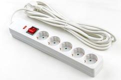 白色Electroextension五个插口 库存照片