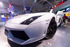 白色Lamborghini Gallardo 库存照片