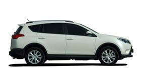 白色SUV侧视图 库存图片