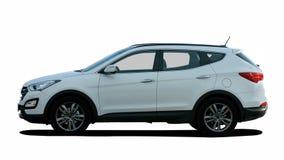 白色SUV侧视图 免版税库存图片
