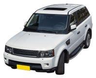 白色SUV孤立 免版税库存照片