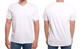 白色V脖子衬衣设计模板 免版税库存图片