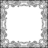 黑白花卉葡萄酒框架 免版税图库摄影