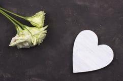 白花和木心脏在黑暗的具体背景 2007个看板卡招呼的新年好 红色上升了 免版税库存图片