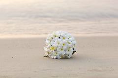 白花在热带海滩的婚礼花束 图库摄影