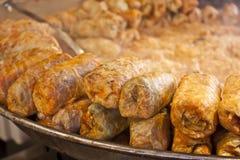 白菜卷叶子,传统匈牙利食物 免版税库存图片