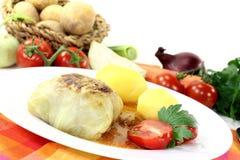 白菜卷用土豆 库存图片