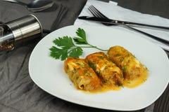 白菜卷滚动用米和肉 免版税库存图片
