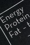 黑白营养事实桌 免版税图库摄影