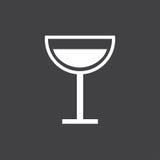 黑白葡萄酒杯标志 免版税图库摄影