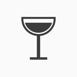 黑白葡萄酒杯标志 库存图片