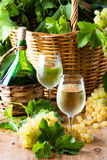白葡萄酒瓶,两块玻璃,葡萄在篮子的 图库摄影