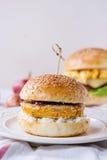 白薯素食者汉堡 图库摄影