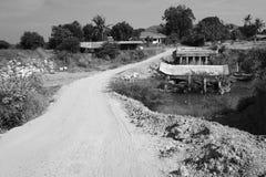 黑白被毁坏桥梁 图库摄影
