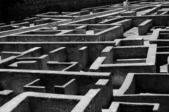 黑白迷宫 免版税库存图片