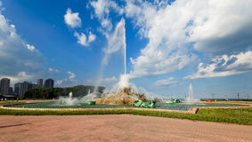 白金汉喷泉在格兰特公园,芝加哥,美国。 库存照片
